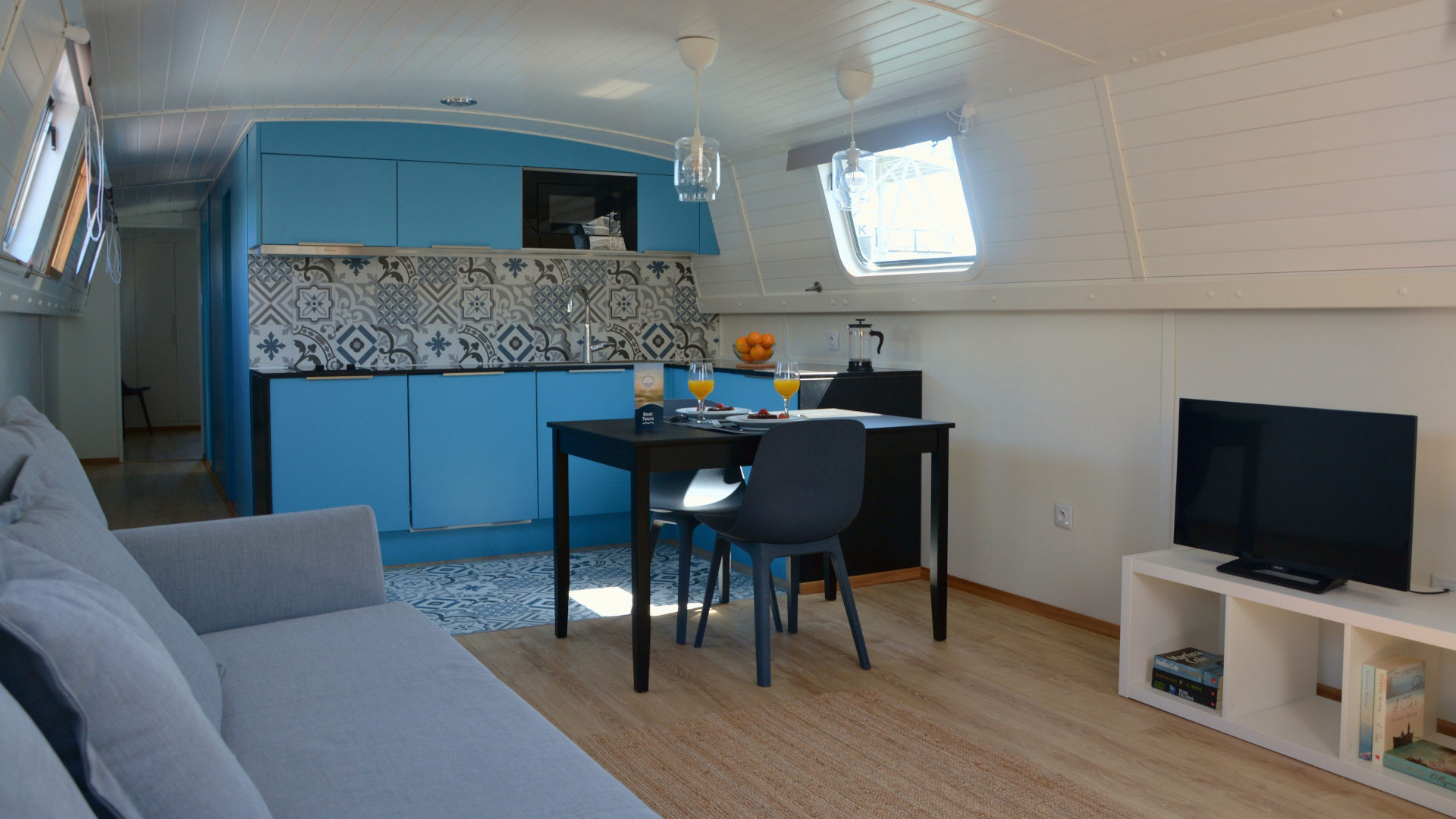 Narrowboat - kitchenette and living room